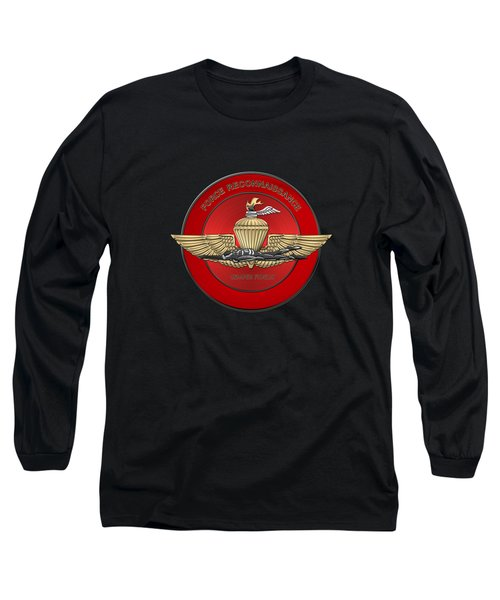 Marine Force Reconnaissance  -  U S M C   F O R E C O N  Insignia Over Black Velvet Long Sleeve T-Shirt