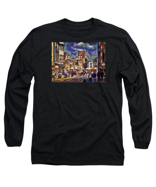 Long Sleeve T-Shirt featuring the digital art Market Square Monday by Leigh Kemp