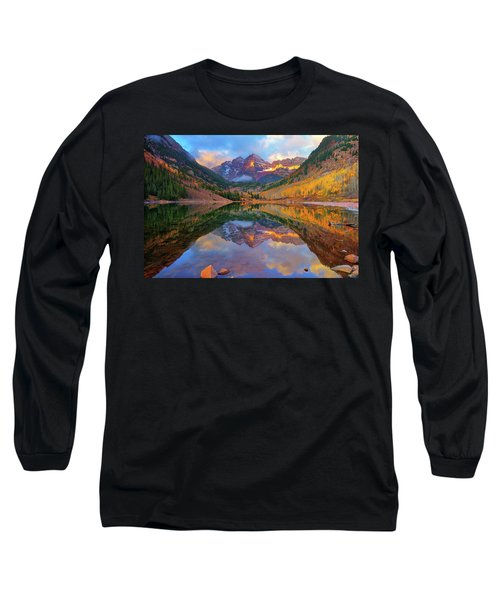 Maroon Lake Dawn Long Sleeve T-Shirt by Greg Norrell