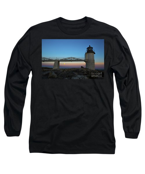 Marshall Point Lighthouse With Full Moon Long Sleeve T-Shirt by Diane Diederich