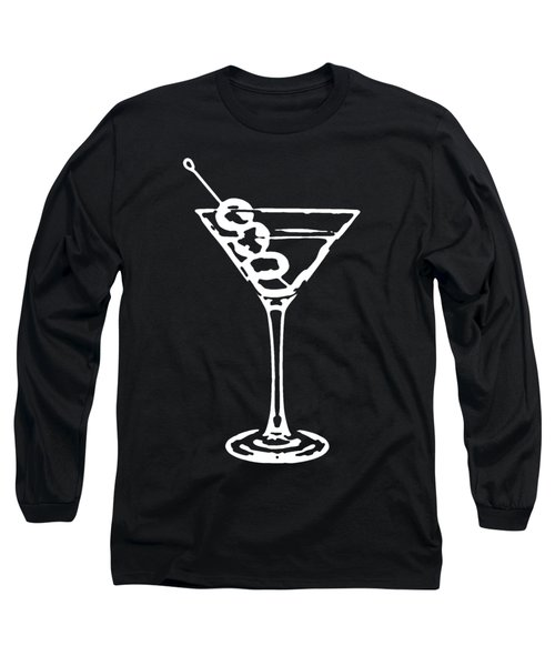 Martini Glass Tee White Long Sleeve T-Shirt by Edward Fielding