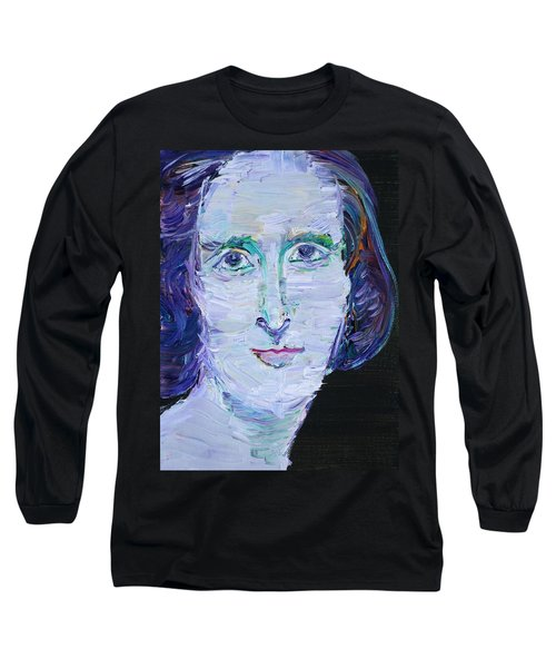 Long Sleeve T-Shirt featuring the painting Mary Shelley - Oil Portrait by Fabrizio Cassetta