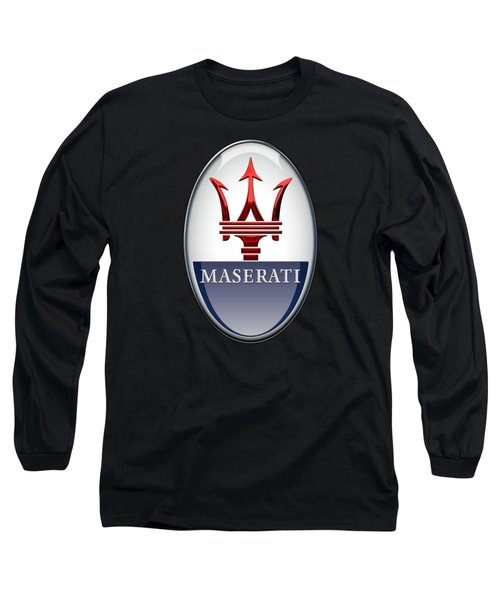 Maserati - 3d Badge On Black Long Sleeve T-Shirt by Serge Averbukh