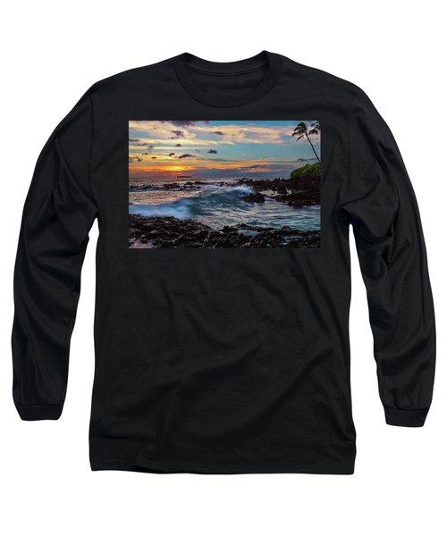 Maui Sunset At Secret Beach Long Sleeve T-Shirt