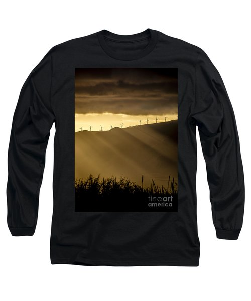Maui Wind Farm Sunset Long Sleeve T-Shirt