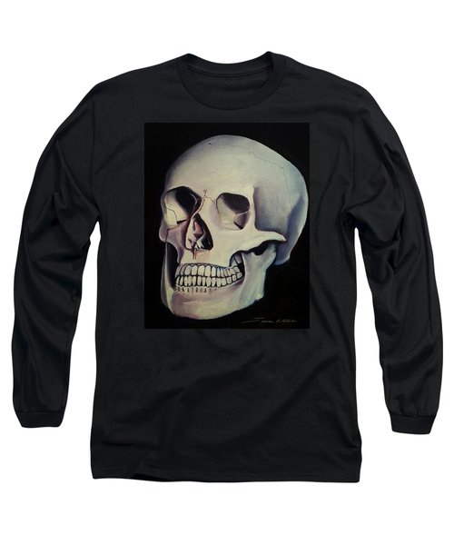 Long Sleeve T-Shirt featuring the painting Medical Skull  by James Christopher Hill