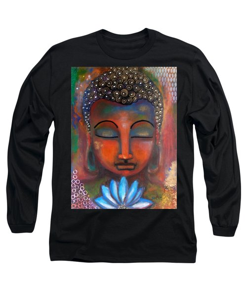 Meditating Buddha With A Blue Lotus Long Sleeve T-Shirt