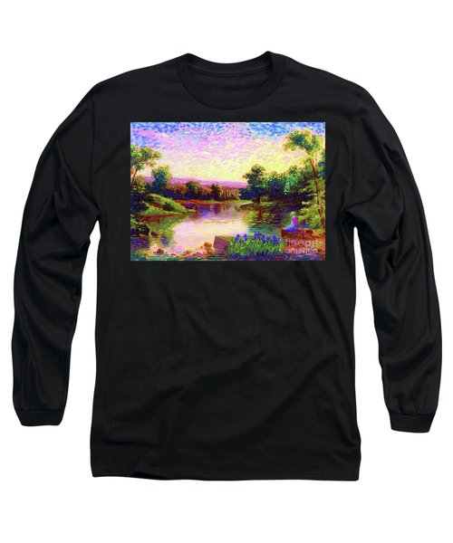 Long Sleeve T-Shirt featuring the painting  Meditation, Just Be by Jane Small