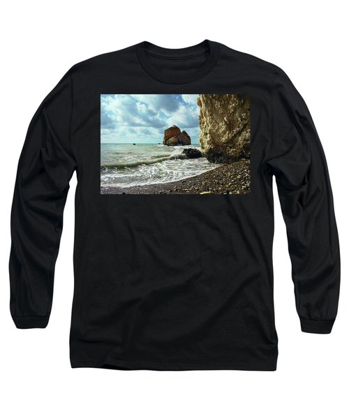 Mediterranean Sea, Pebbles, Large Stones, Sea Foam - The Legendary Birthplace Of Aphrodite Long Sleeve T-Shirt