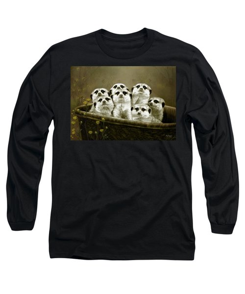 Long Sleeve T-Shirt featuring the digital art Meerkats by Thanh Thuy Nguyen