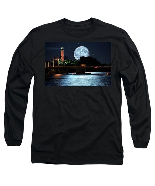 Mega Super Moon Rising Over Jupiter Lighthouse Long Sleeve T-Shirt