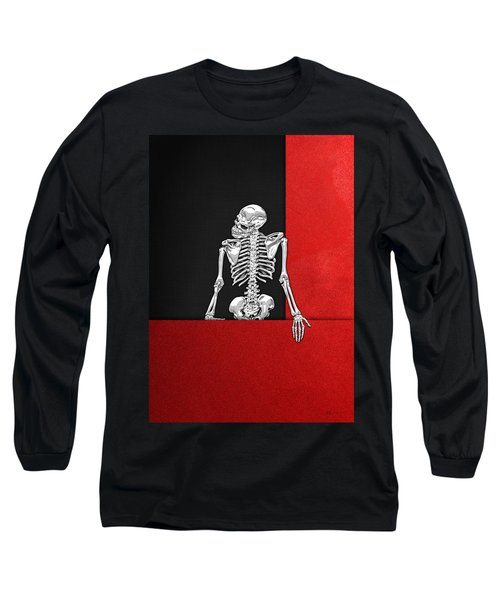 Memento Mori - Skeleton On Red And Black  Long Sleeve T-Shirt by Serge Averbukh