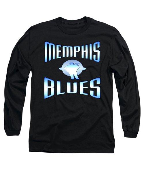 Memphis Blues Tshirt Design Long Sleeve T-Shirt by Art America Gallery Peter Potter