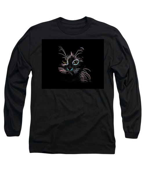 Nature Long Sleeve T-Shirt featuring the digital art Meow  by Aaron Berg