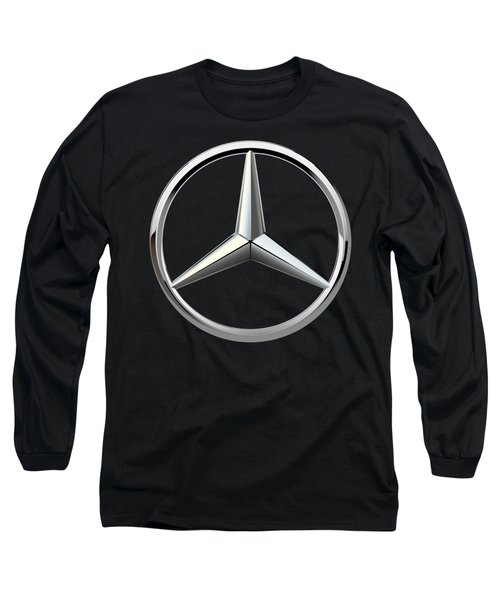 Mercedes-benz - 3d Badge On Black Long Sleeve T-Shirt