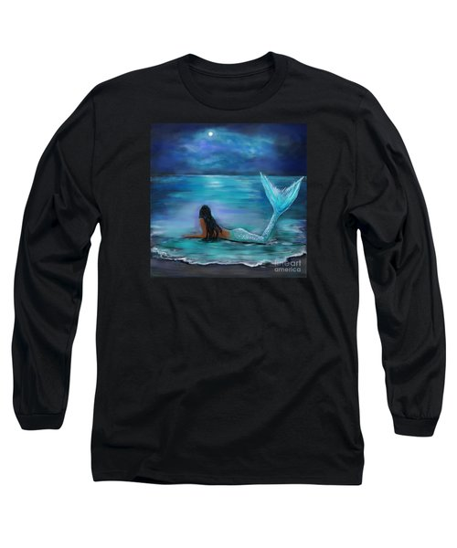 Mermaid Moon And Stars Long Sleeve T-Shirt by Leslie Allen