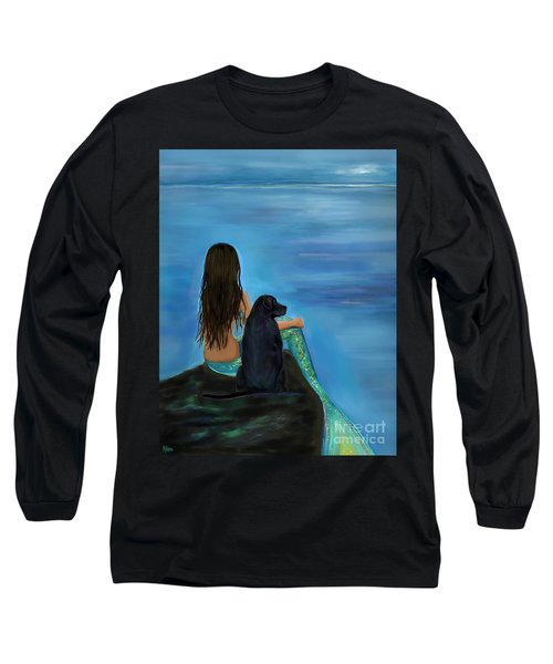 Long Sleeve T-Shirt featuring the painting Mermaids Loyal Bud by Leslie Allen