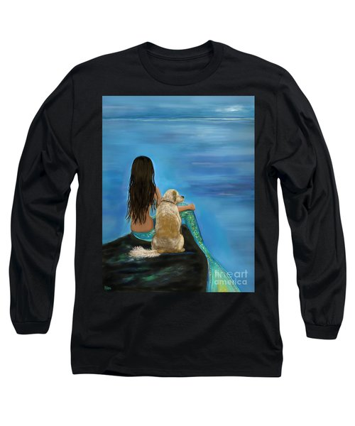 Long Sleeve T-Shirt featuring the painting Mermaids Loyal Buddy by Leslie Allen