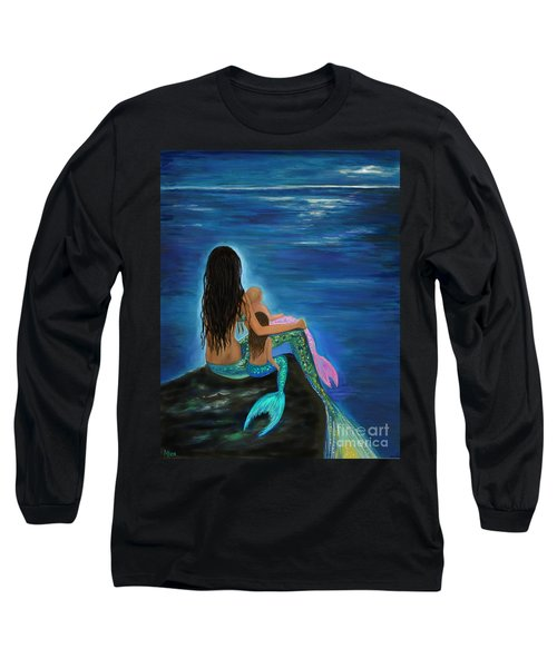 Long Sleeve T-Shirt featuring the painting Mermaids Sweet Little Girls by Leslie Allen