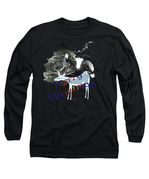 Long Sleeve T-Shirt featuring the digital art Merry Old Santa by Asok Mukhopadhyay