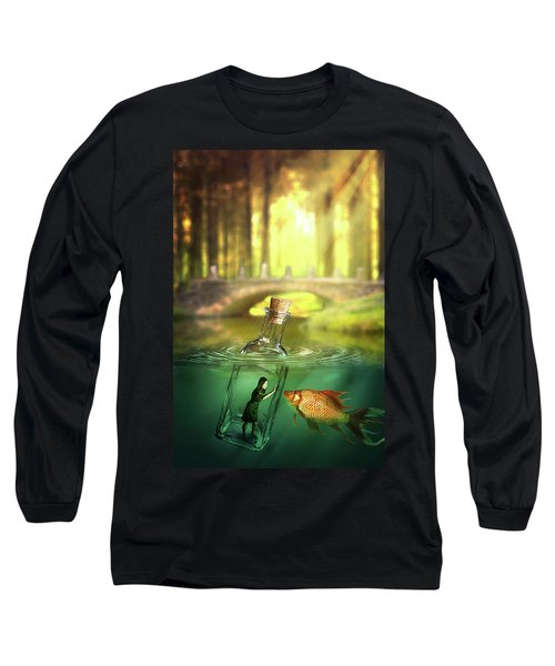 Message In A Bottle Long Sleeve T-Shirt by Nathan Wright