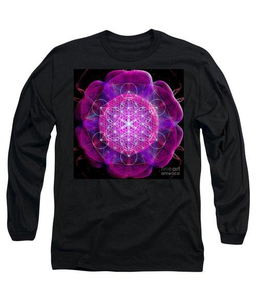 Metatron's Cube On Fractal Pletals Long Sleeve T-Shirt