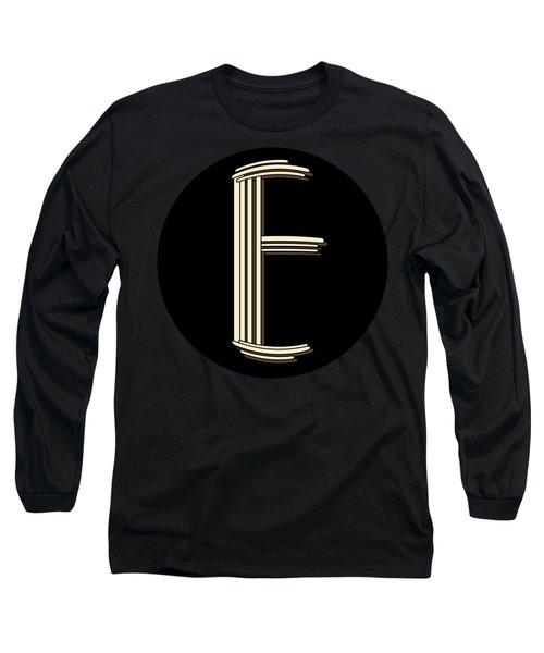 Metropolitan Park Deco 1920s Monogram Letter Initial E Long Sleeve T-Shirt