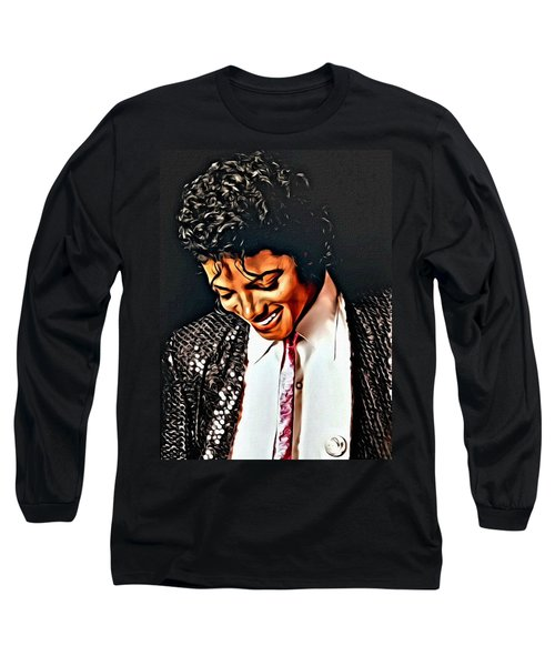 Long Sleeve T-Shirt featuring the painting Michael Jackson The Ultimate Humanitarian by Karen Showell
