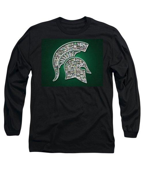 Michigan State Spartans Football Long Sleeve T-Shirt by Fairchild Art Studio