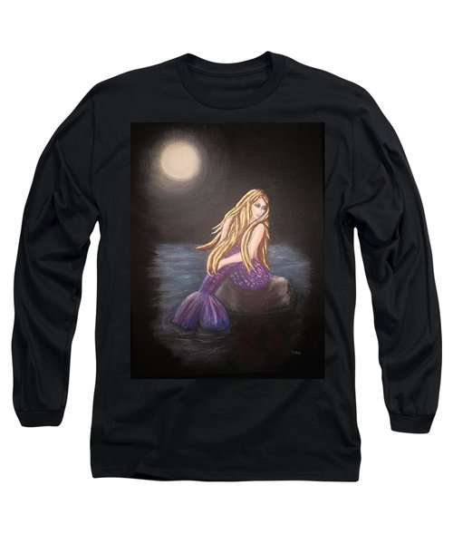 Long Sleeve T-Shirt featuring the painting Midnight Mermaid by Teresa Wing
