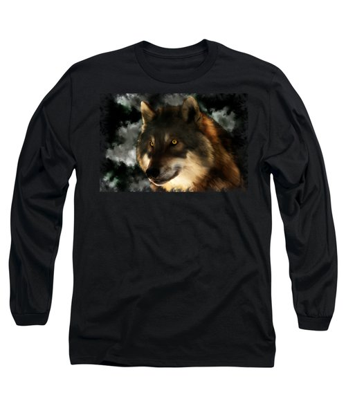 Midnight Stare - Wolf Digital Painting Long Sleeve T-Shirt
