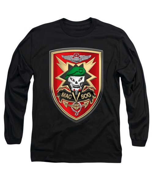 Military Assistance Command, Vietnam Studies And Observations Group Patch Over Black Velvet Long Sleeve T-Shirt by Serge Averbukh