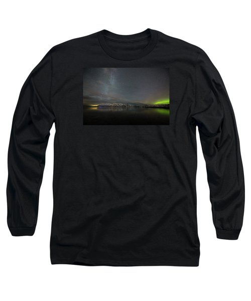 Milky Way And Northern Lights Long Sleeve T-Shirt