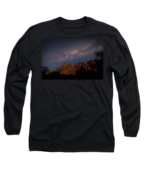 Milky Way Galaxy Over Zion Canyon Long Sleeve T-Shirt