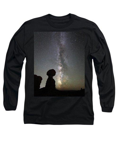 Milky Way Over Balanced Rock Long Sleeve T-Shirt