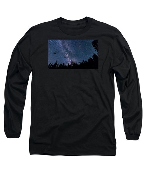 Milky Way Over Chairlift Long Sleeve T-Shirt by Michael J Bauer