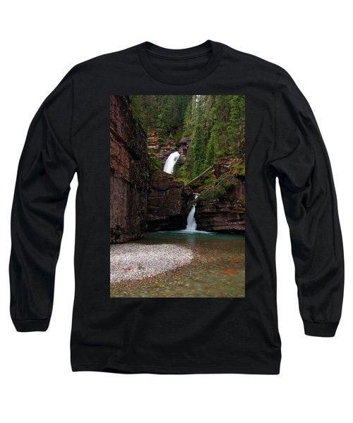Long Sleeve T-Shirt featuring the photograph Mineral Creek Falls by Steve Stuller