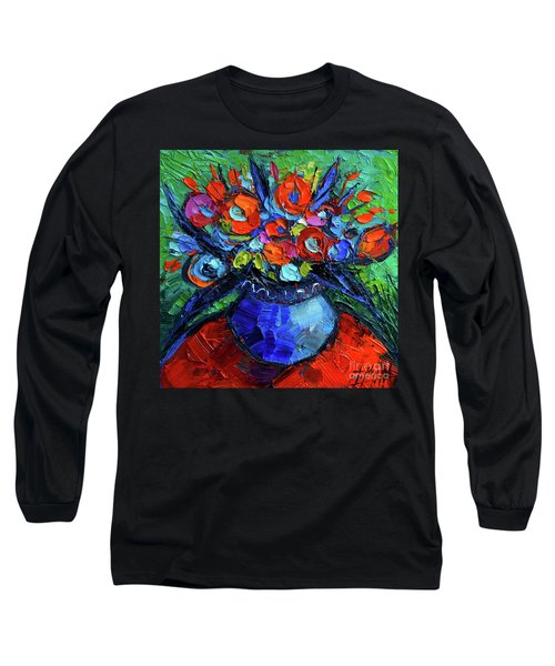 Mini Floral On Red Round Table Long Sleeve T-Shirt