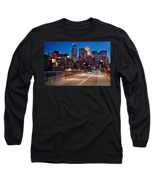 Minneapolis Skyline From Stone Arch Bridge Long Sleeve T-Shirt