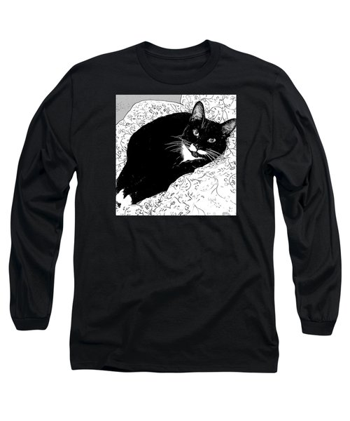 Long Sleeve T-Shirt featuring the photograph Minnie Siesta - B And W by Ronda Broatch