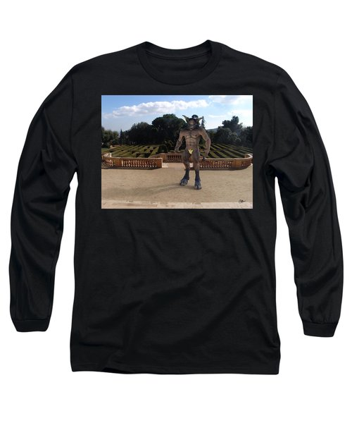 Minotaur In The Labyrinth Park Barcelona. Long Sleeve T-Shirt
