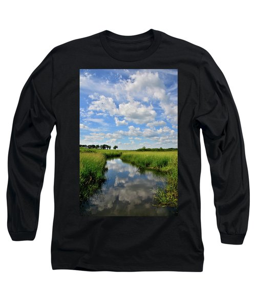 Mirror Image Of Clouds In Glacial Park Wetland Long Sleeve T-Shirt