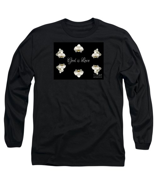 Long Sleeve T-Shirt featuring the photograph Mirrored Orchids Framing God Is Love by Rose Santuci-Sofranko