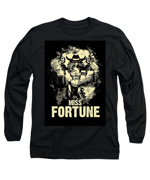 Miss Fortune - Vintage Comic Line Art Style Long Sleeve T-Shirt