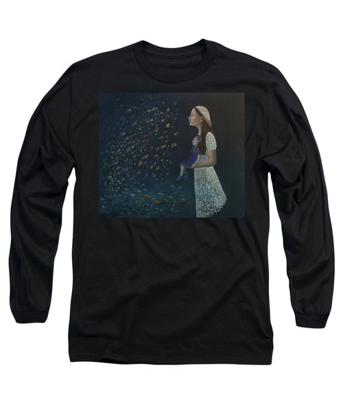 Long Sleeve T-Shirt featuring the painting Miss Frost Watching The Autumn Dance by Tone Aanderaa
