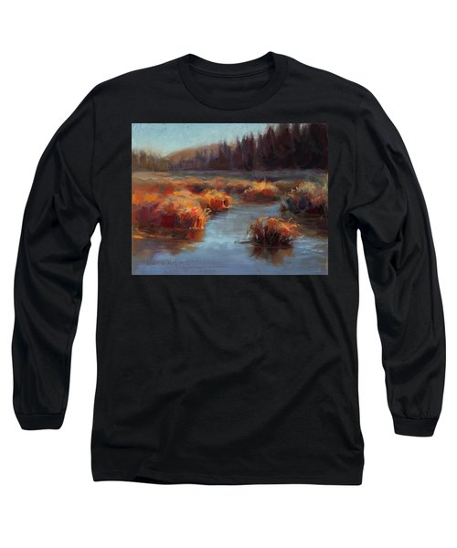 Long Sleeve T-Shirt featuring the painting Misty Autumn Meadow With Creek And Grass - Landscape Painting From Alaska by Karen Whitworth
