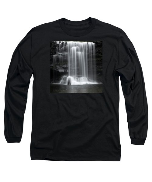 Misty Canyon Waterfall Long Sleeve T-Shirt by John Stephens