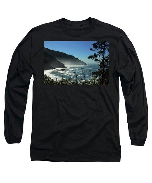 Misty Coast At Heceta Head Long Sleeve T-Shirt by James Eddy