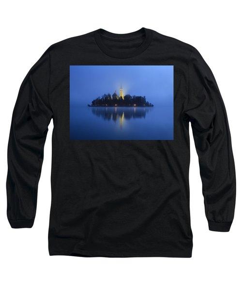 Misty Morning Lake Bled Slovenia Long Sleeve T-Shirt