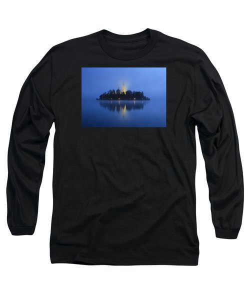 Misty Morning Lake Bled Slovenia Long Sleeve T-Shirt